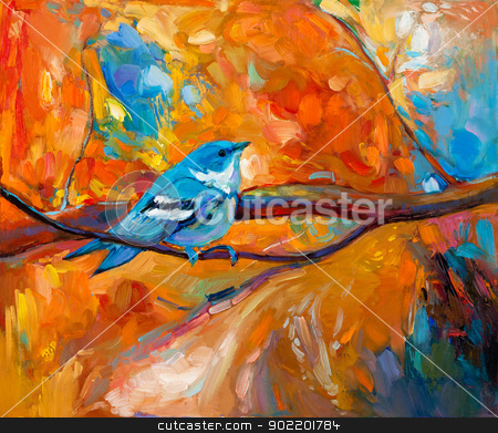 Blue Cerulean Warbler bird stock photo, Original oil painting of blue Cerulean Warbler song bird on canvas.Modern impressionism by borojoint