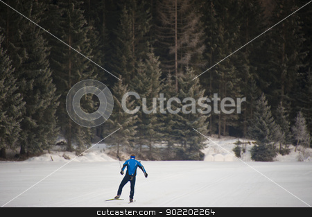 skier in val di vizze stock photo, man cross-country skiing in the valley of pfitsch in sudtirol by faabi