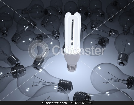 Glowing energy saving light bulb stock photo, Glowing energy saving light bulb. The gray background by cherezoff