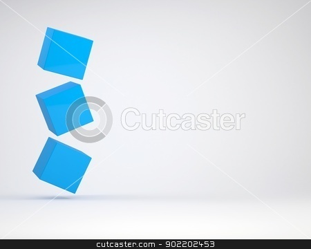 Three cube stock photo, Three cube. The gray background by cherezoff
