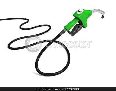 Petrol pump stock photo, Illustration of green fuel pump nozzle with oil drop isolated on white background by Harvepino