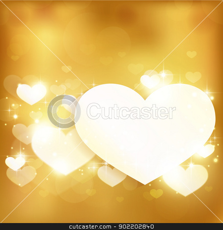 Golden glowing love heart background with lights and stars stock vector clipart, Festive gold background with light effects, hearts and stars. Great for Valentine's or any romantic themes. Contains gradient mesh elements. Space for your text. by Ina Wendrock