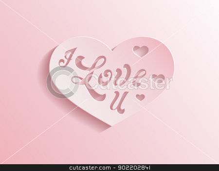 Pink heart with I love you inscription stock vector clipart, Romantic pastel pink paper love heart with the inscription