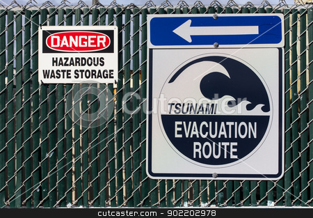 Tsunami Evacuation Route Sign stock photo, Tsunami Evacuation Route Sign. by Ken Wolter