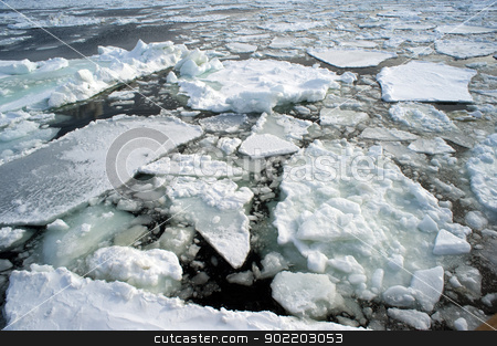 Ice Drift stock photo, broken sheets of ice viewed from an ice breaker vessel by Stephen Gibson