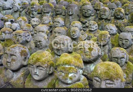 Otagi Nenbutsu-ji Rakan Statues stock photo, An assortment of statues of Rakan or Arakan at Otagi Nenbutsu-ji Buddhist Temple, Osaka, Japan by Stephen Gibson