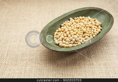 soybeans in rustic bowl stock photo, soybeans in a rustic wood bowl against burlap canvas by Marek Uliasz
