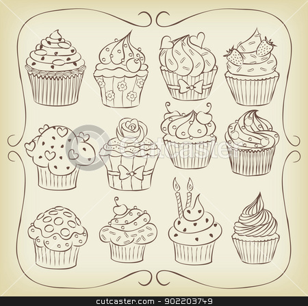 Yummmmy!!! stock vector clipart, Sketchy yummy cupcakes set with frame. by wingedcats