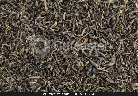 Chun mee green tea  stock photo, background texture of popular Chinese Chun mee green tea tea by Marek Uliasz
