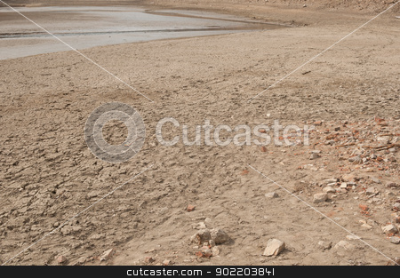 Dry Lake stock photo, Rest of the Water on bottom of the dried lake by JAMDesign