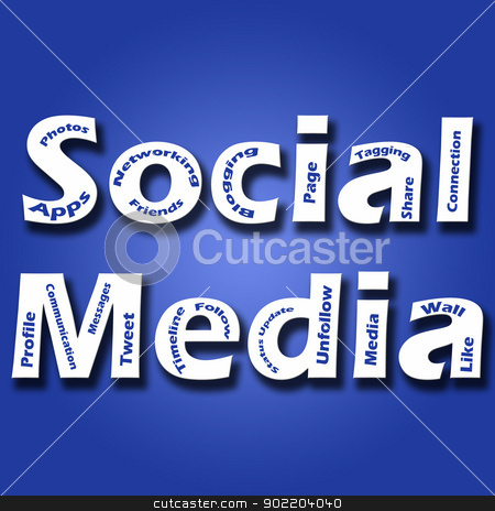 A blue background image with Social Media stock photo, A blue background image with Social Media text in bold fonts and other social media and marketing related keyworrds. by Chirag Pithadiya