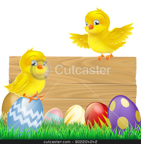 Isolated Easter Sign with Eggs and Chicks stock vector clipart, An isolated Easter Sign with Easter eggs and cartoon yellow chicks one of which is standing on the sign by Christos Georghiou