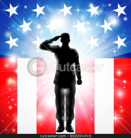 US flag military armed forces soldier silhouette saluting stock vector clipart, A US military armed forces soldier in silhouette saluting in front of an American flag background by Christos Georghiou