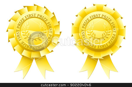 Gold first prize rosettes  stock vector clipart, Two gold first prize rosettes with winner's laurel wreaths in the centre by Christos Georghiou