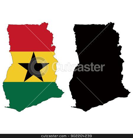 Ghana stock vector clipart, Vector illustration map and flag of Ghana. by Liu Yin