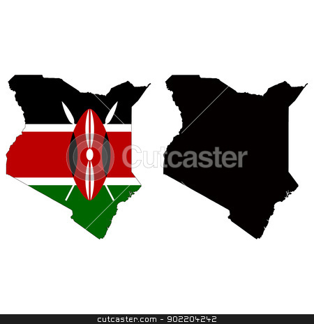 Kenya stock vector clipart, Vector illustration map and flag of Kenya. by Liu Yin