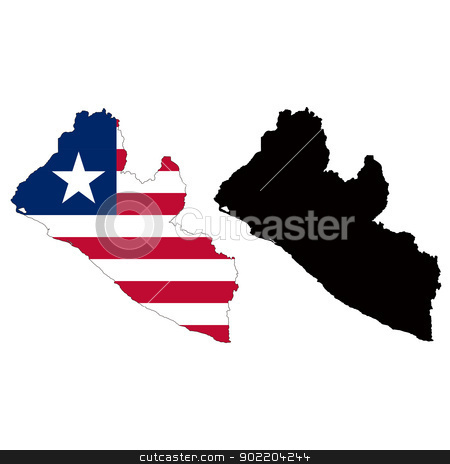 Liberia stock vector clipart, Vector illustration map and flag of Liberia. by Liu Yin