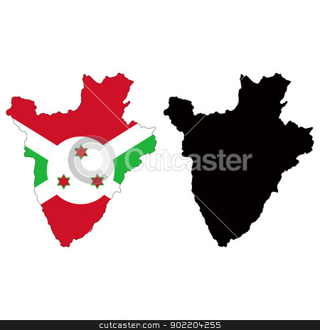 Burundi stock vector clipart, Vector illustration map and flag of Burundi. by Liu Yin