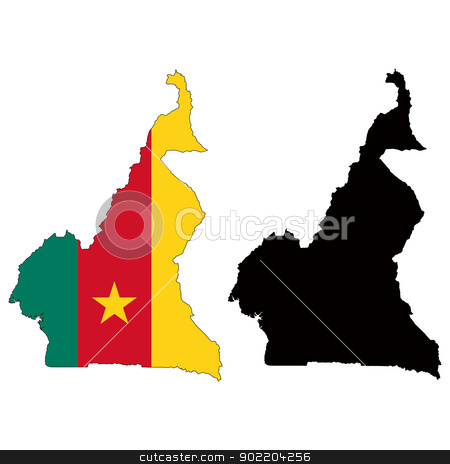 Cameroon stock vector clipart, Vector illustration map and flag of Cameroon. by Liu Yin