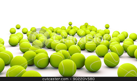 tennis ball stock photo, Many tennis ball isolated on white  by carloscastilla
