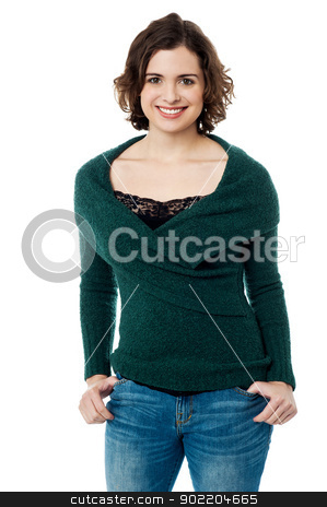 Stunning smiling female model in trendy casuals stock photo, Young casual woman style isolated over white background. by Ishay Botbol