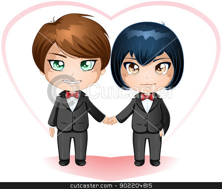 Gay Grooms Getting Married stock vector clipart, A vector illustration of gay men dressed in suits for their wedding day. by Liron Peer