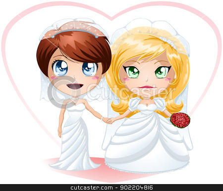 Lesbian Brides In Dresses Getting Married stock vector clipart, A vector illustration of lesbians dressed for their wedding day. by Liron Peer