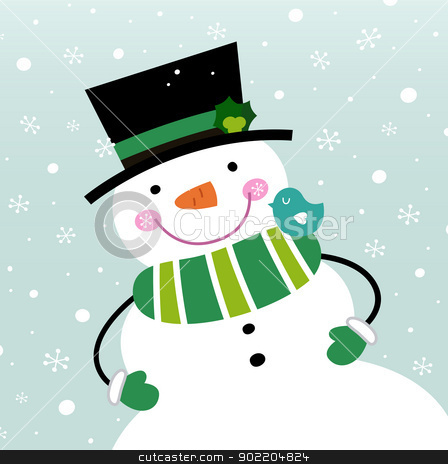 Cute winter Snowman isolated on snowing background stock vector clipart, Happy green Snowman. Vector cartoon illustration by BEEANDGLOW
