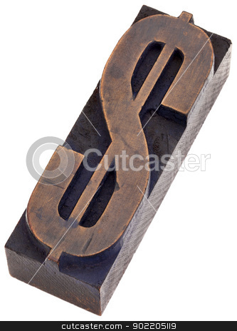 dollar sign in letterpress type stock photo, dollar sign in vintage wood letterpress printing blocks, stained by color inks, isolated on white by Marek Uliasz