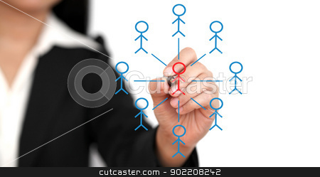 Social Network Concept stock photo, Asian business woman drawing Social Network Concept by Vichaya Kiatying-Angsulee