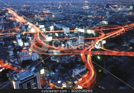 Bangkok Highway at Dusk stock photo, The highest Aerial view of Bangkok Highway at Dusk in Thailand by Vichaya Kiatying-Angsulee