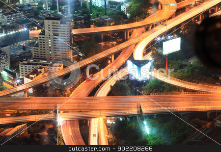 Bangkok Highway Cityscape stock photo, Closeup of highest Aerial view of Bangkok Highway Cityscape at Dusk in Thailand by Vichaya Kiatying-Angsulee