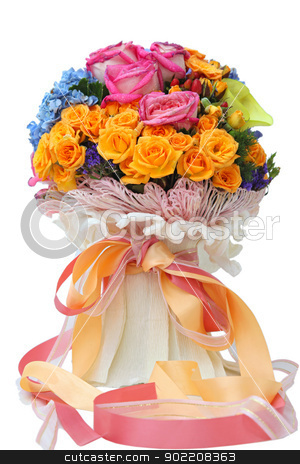 flowers bouquet stock photo, closeup of isolated beautiful and colorful flower bouquet by Vichaya Kiatying-Angsulee