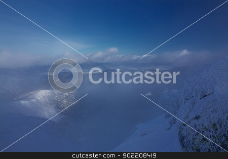 Misty winter view stock photo, Picturesque view from highest mountain in Low Tatras, Dumbier, in Slovakia during winter by Harvepino