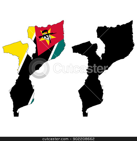 Mozambique stock vector clipart, Vector illustration map and flag of Mozambique. by Liu Yin