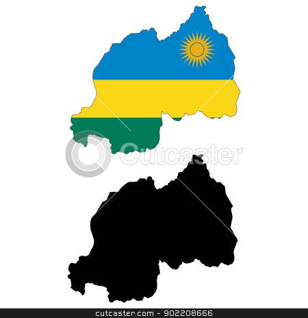 Rwanda stock vector clipart, Vector illustration map and flag of Rwanda. by Liu Yin
