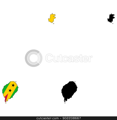 Sao Tome and Principe stock vector clipart, Vector illustration map and flag of Sao Tome and Principe. by Liu Yin