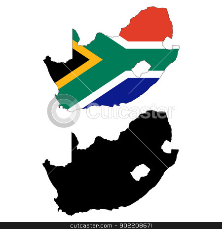 South Africa stock vector clipart, Vector illustration map and flag of South Africa.   by Liu Yin
