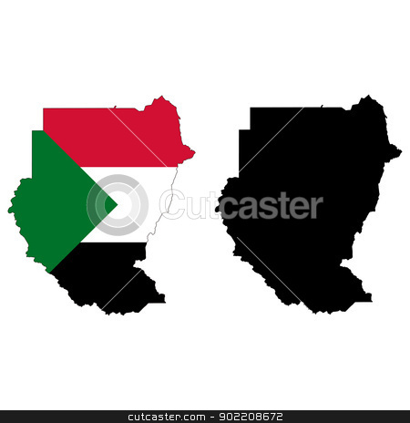 Sudan stock vector clipart, Vector illustration map and flag of Sudan. by Liu Yin