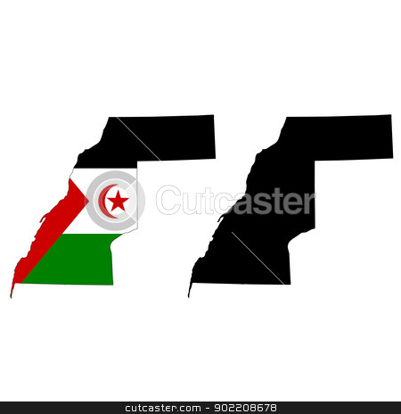 Western Sahara stock vector clipart, Vector illustration map and flag of Western Sahara. by Liu Yin