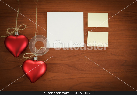 wooden board with notes for valentine message stock photo, wooden board notes for valentine message with two red hearts by Artush