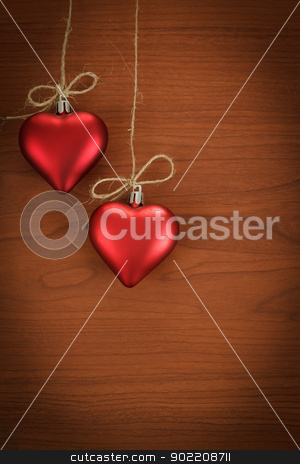 wooden board for valentine message stock photo, wooden board for valentine message with two red hearts by Artush