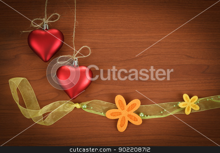 wooden board for valentine message with flowers stock photo, wooden board for valentine message with two red hearts and flowers by Artush