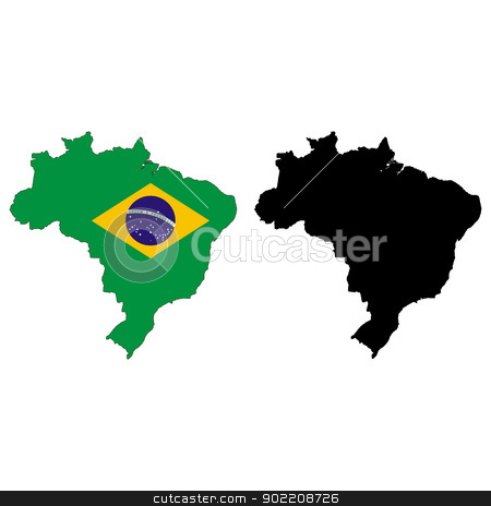 Brazil stock vector clipart, Vector illustration map and flag of Brazil. by Liu Yin