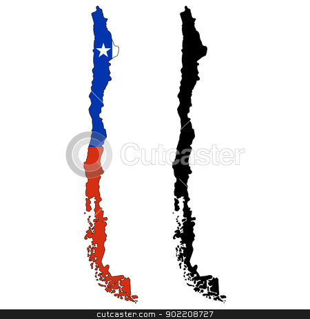 Chile stock vector clipart, Vector illustration map and flag of Chile. by Liu Yin