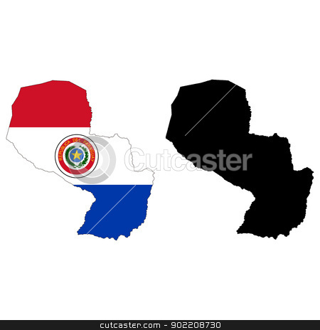 Paraguay stock vector clipart, Vector illustration map and flag of Paraguay. by Liu Yin