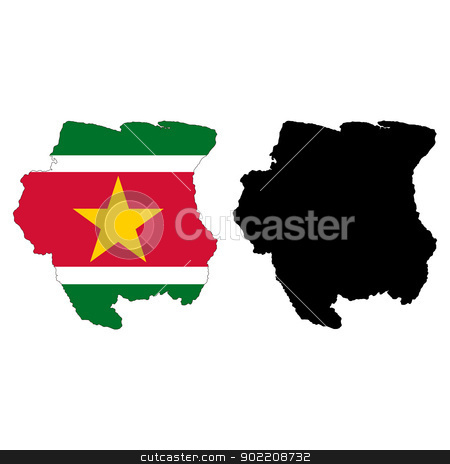 Suriname stock vector clipart, Vector illustration map and flag of Suriname. by Liu Yin