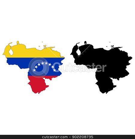 Venezuela stock vector clipart, Vector illustration map and flag of Venezuela. by Liu Yin