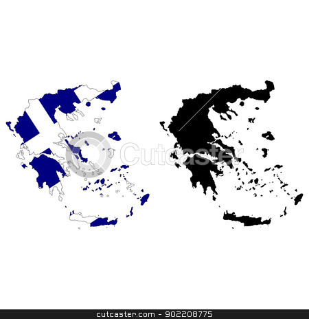 Greece stock vector clipart, Vector illustration map and flag of Greece. by Liu Yin