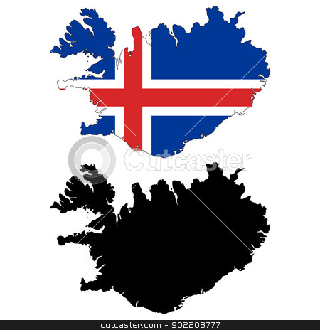 Iceland stock vector clipart, Vector illustration map and flag of Iceland. by Liu Yin